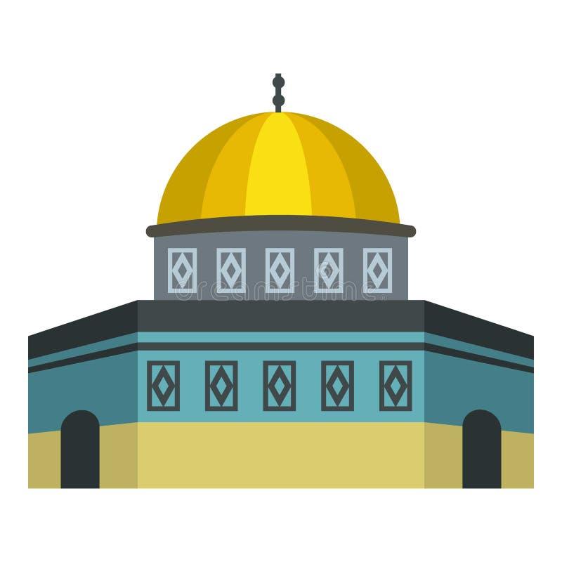 Cupola della roccia sull'icona di Temple Mount, stile piano illustrazione di stock