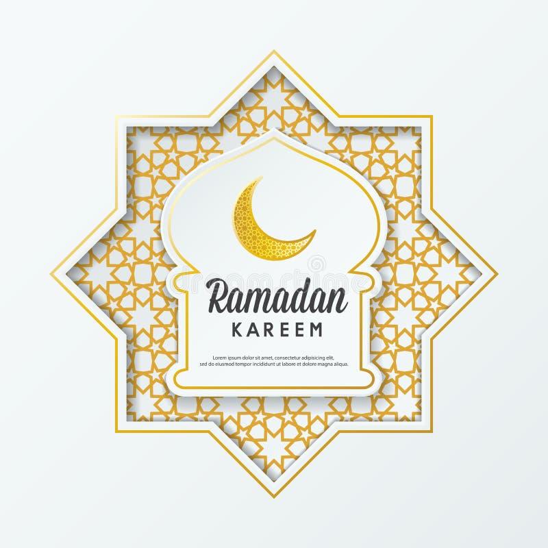 Cupola islamica della moschea di progettazione di saluto di Ramadan Kareem con il modello e la calligrafia arabi illustrazione vettoriale