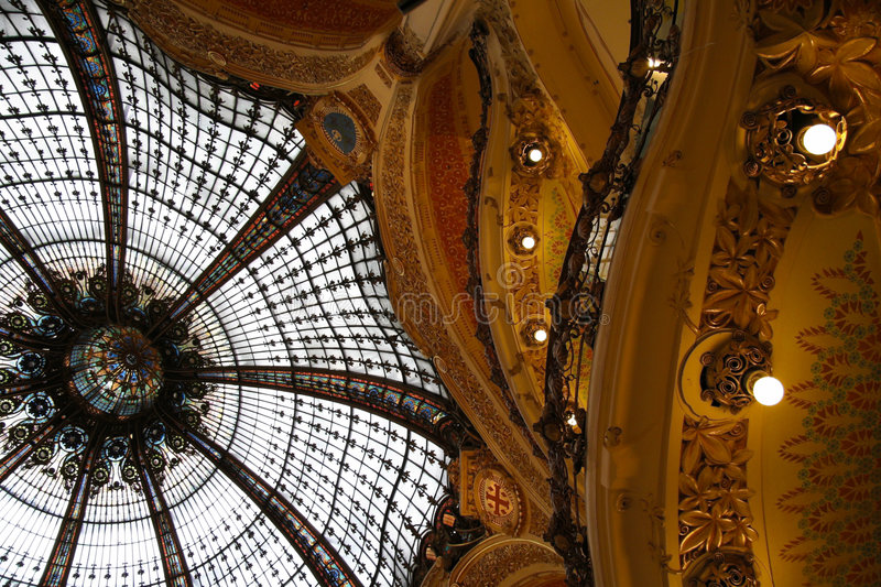 Cupola la fayette. A particular of the galeries lafayette royalty free stock images