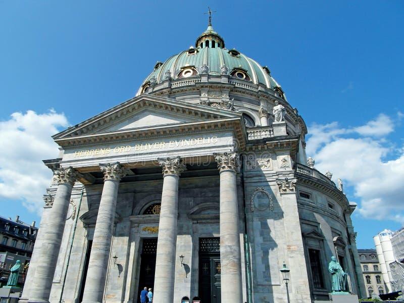 Cupola meravigliosa della chiesa di Frederik o della chiesa di marmo a Copenhaghen, Danimarca, Europa immagine stock libera da diritti