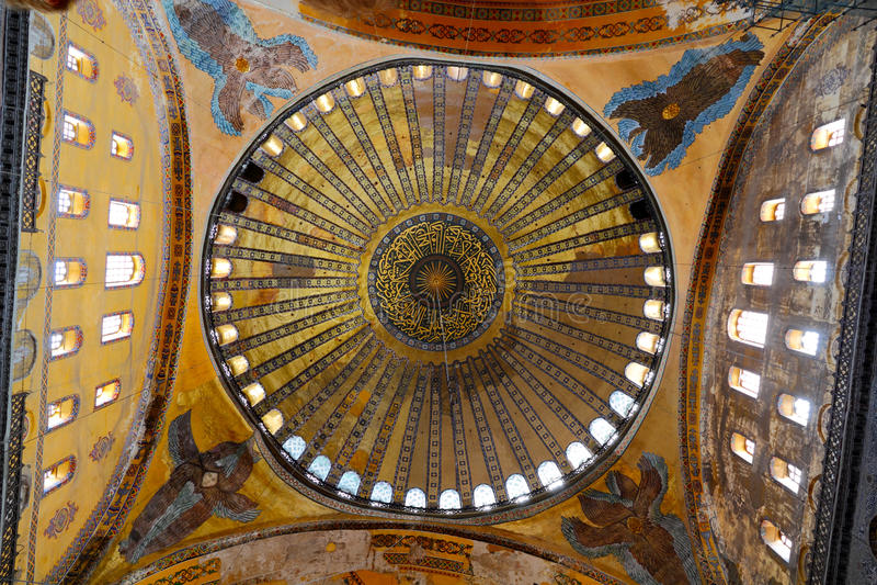 Cupola of mosque Hagia Sofia royalty free stock photo