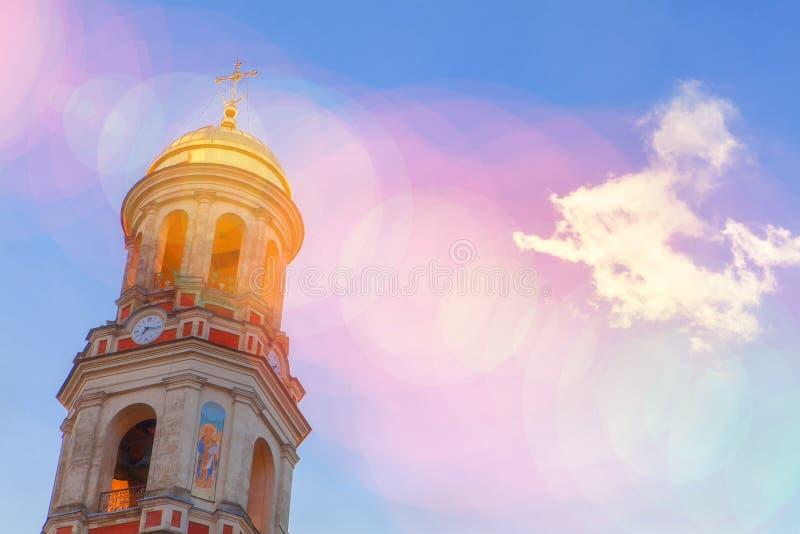 Cupola in sunlight. Golden church cupola shining in sun light royalty free illustration