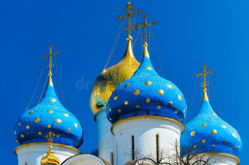 Cupola of Trinity Sergius Lavra Sergiev Posad in Moscow region in Russia royalty free stock images