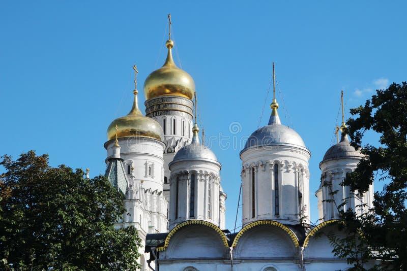 Cupolas katedry w Moskwa Kremlin zdjęcia royalty free