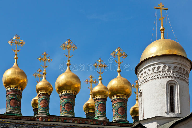 Cupolas of the Terem Palace Church, Moscow Kremlin, Russia.  royalty free stock photos