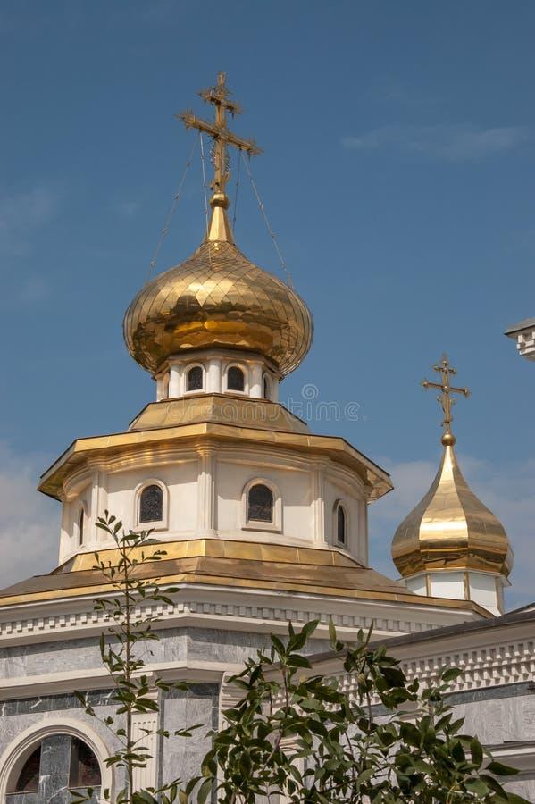 Cupole dell'oro della cattedrale in Taškent, l'Uzbekistan di Dormition fotografie stock