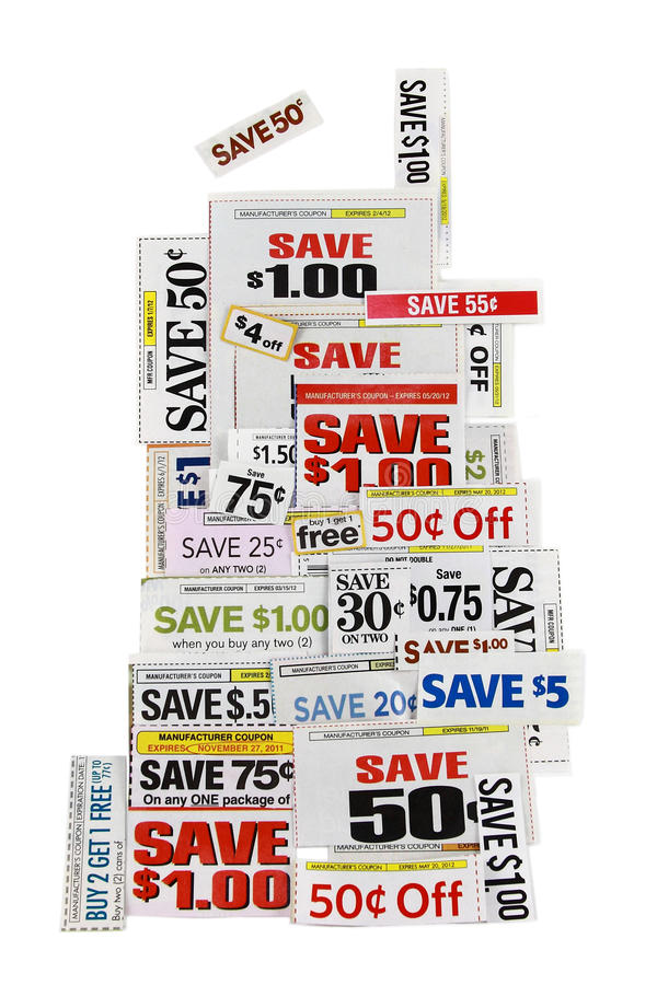 Cupones del ahorro del dinero en blanco foto de archivo