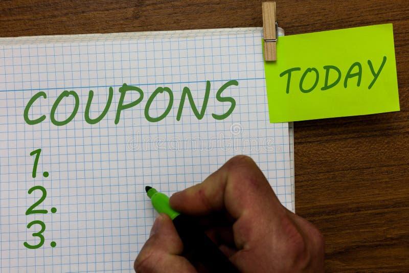 Cupones del texto de la escritura de la palabra Concepto del negocio para la etiqueta del boleto del certificado para el marcador fotos de archivo libres de regalías