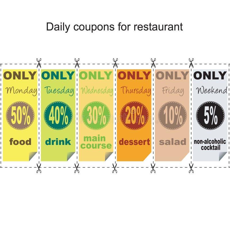 Cupones diarias para el restaurante stock de ilustración