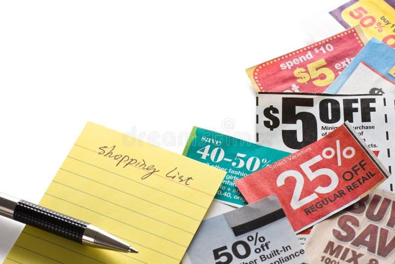 Cupones y lista de compras imagen de archivo libre de regalías