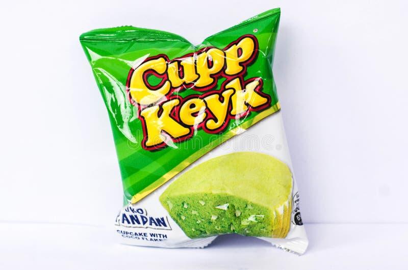 Cupp Keyk Buko Pandan flavor. Camarines Sur, PHILIPPINES - JAN. 31, 2017. A close-up photo of Cupp Keyk Buko Pandan flavor, a cupcake product by Rebisco Company stock photo