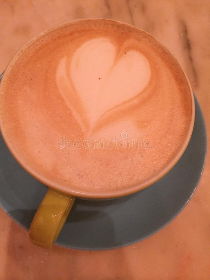 Heart with a cup of coffee royalty free stock images