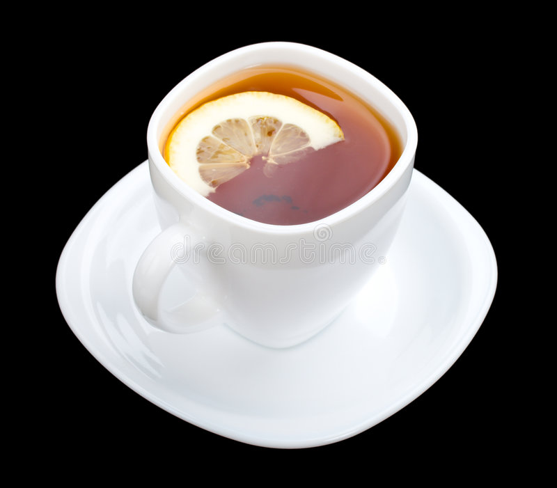 Download Cuppa With Lemon And Saucer On Black Stock Photo - Image: 9064540