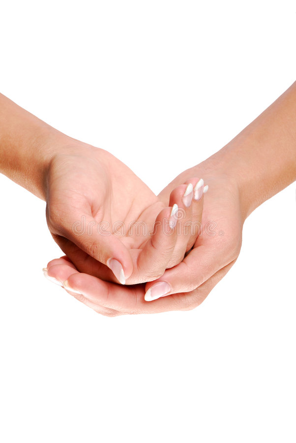 Cupped hand. Female Cupped hand isoleted on white royalty free stock photography