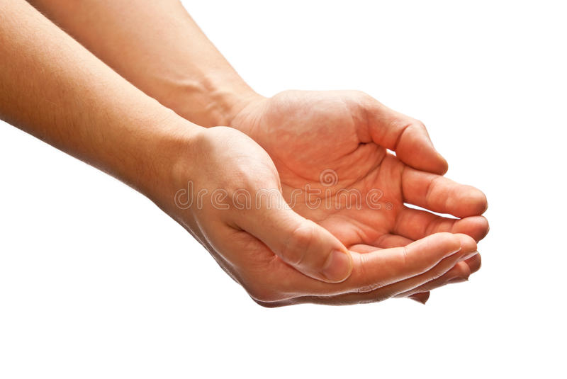 Cupped hands. Man's cupped hands isolated on white background royalty free stock photography