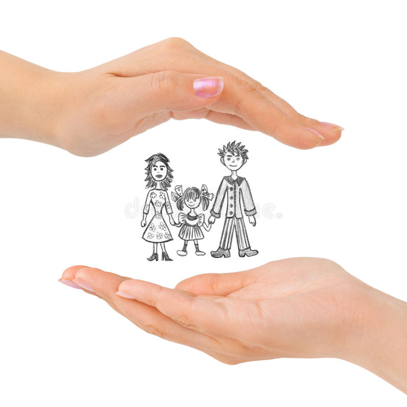 Cupped hands and family. Isolated on white background royalty free stock photo