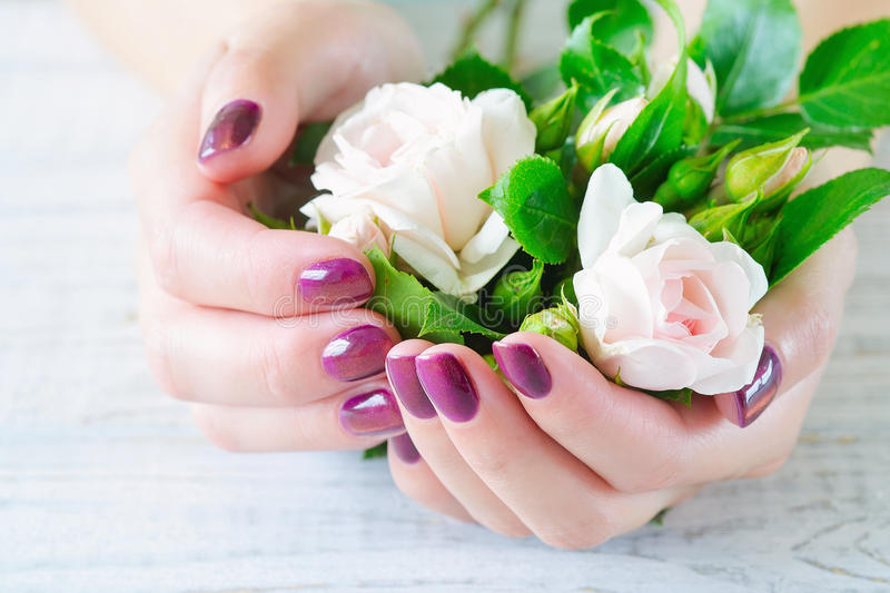 Cupped hands with manicured fingernails stock photos