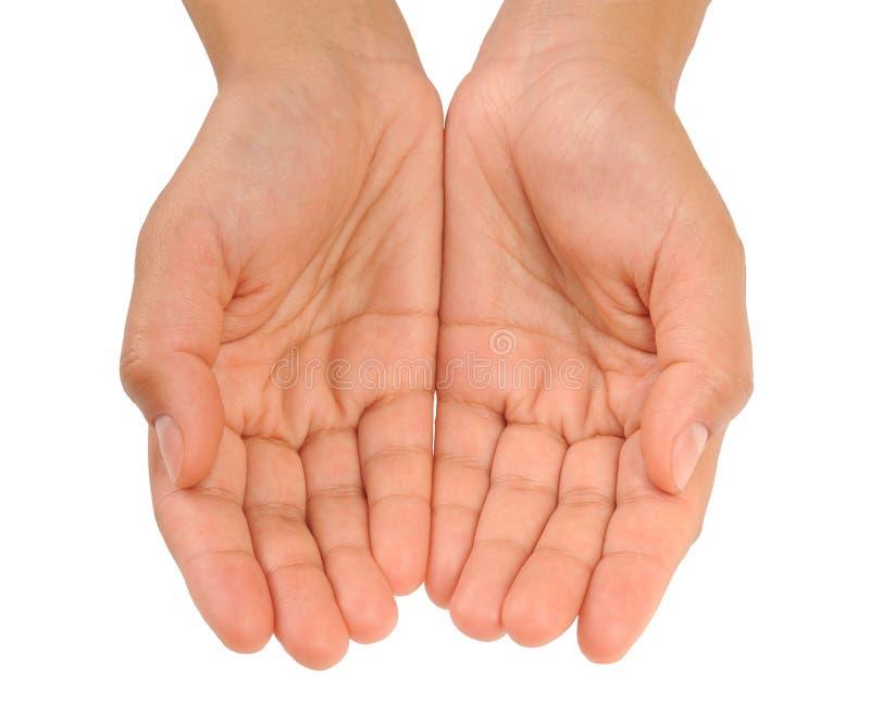 Cupped ręki młoda kobieta - odosobniona fotografia royalty free
