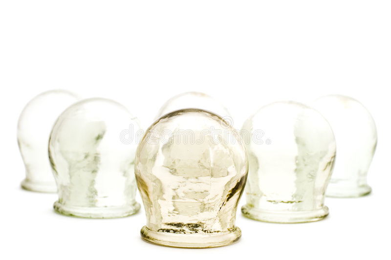 Cupping glass on white. Object on white medical tool cupping glass royalty free stock photography