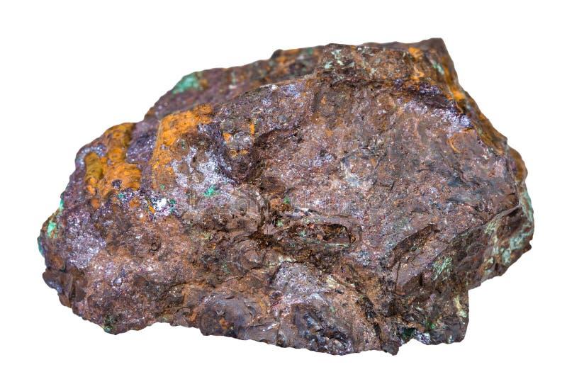 Cuprite e malachite in minerale della limonite isolato fotografia stock libera da diritti