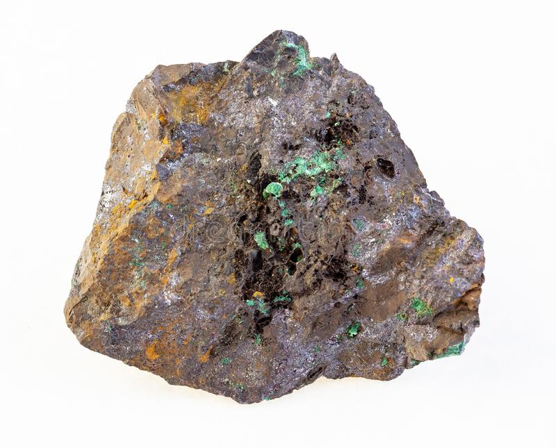 cuprite en malachiet in ruwe limonite steen stock afbeeldingen
