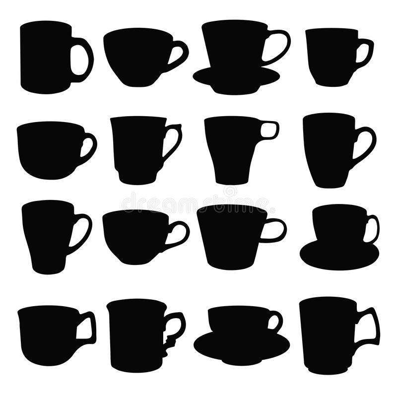 Cups. Black silhouettes of kitchen utensils. Vector illustration stock illustration