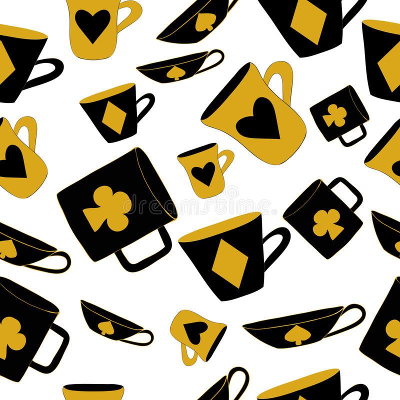 Cups with cards suits from Alice in wonderland. Cups with cards suits from Alice adventures in wonderland world. Seamless vector illustration can be used for stock illustration