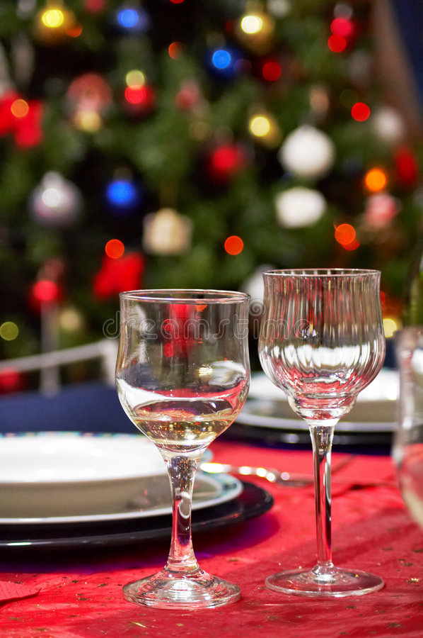 Download Cups - Christmas Table Setting Stock Photo - Image: 1695304