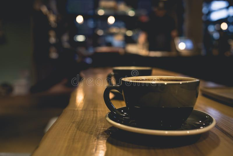 Cups of coffee in coffee shop stock images