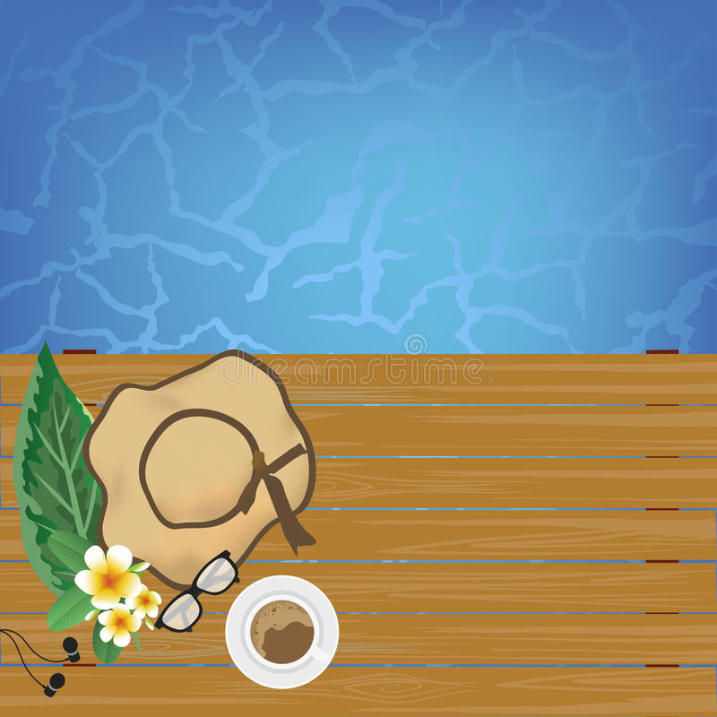 Cups of coffee on the table near the pool with copy space background. Vector illustration royalty free illustration