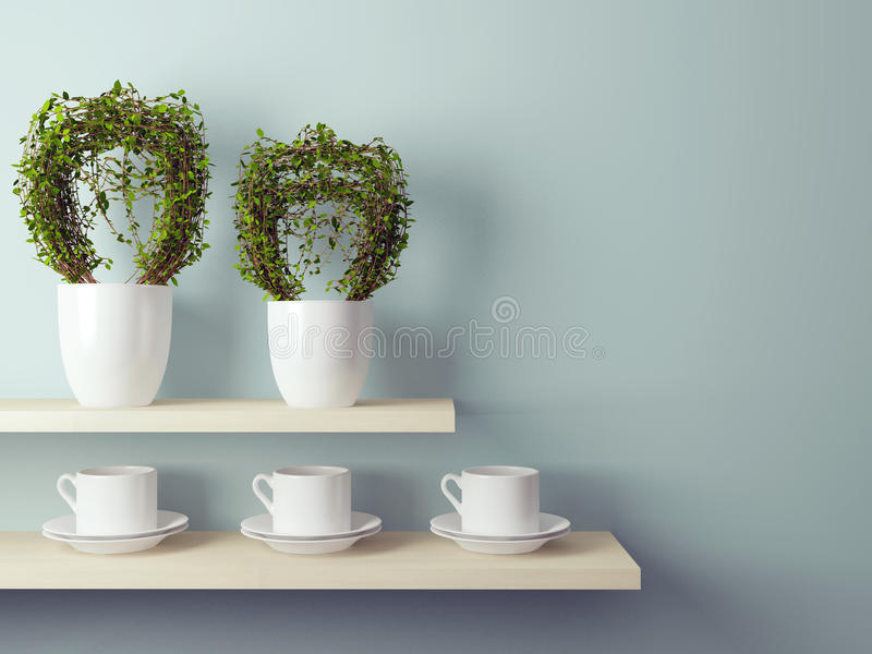 Cups and flowerpot on the shelf. White cups and flowerpot on the shelf in front of gray wall royalty free illustration