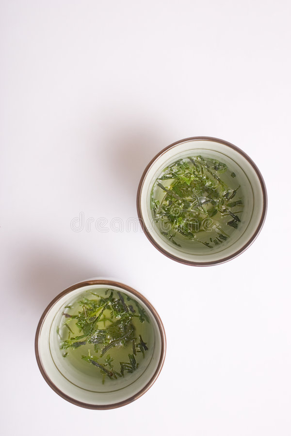 Cups Green Japanese Tea Στοκ φωτογραφία με δικαίωμα ελεύθερης χρήσης