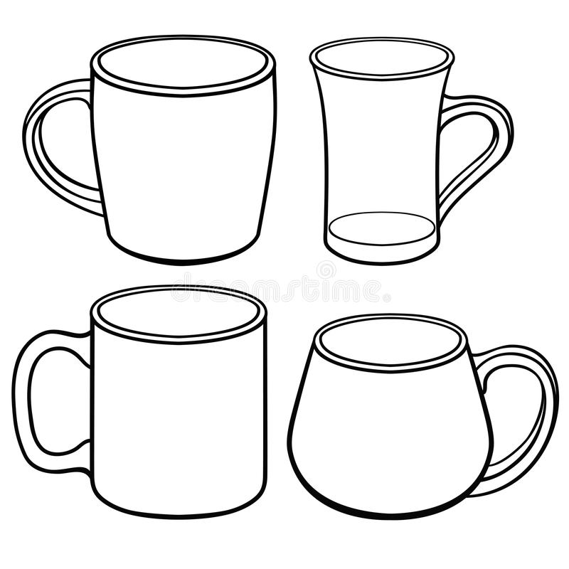 Cups and mugs for tea of different shapes. A set of templates. Line drawing. For coloring royalty free illustration