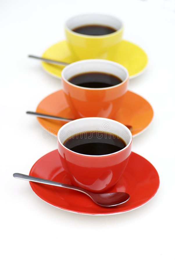 Free Cups Of Coffee In Line. Stock Image - 2819761