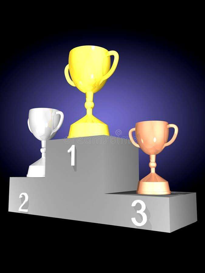 cups podiumtrofén vektor illustrationer