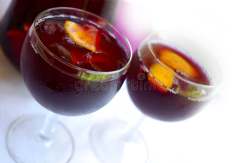Cups with Sangria. Two glass cups filled with fresh tasty sangria