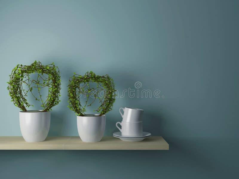 Cups on the shelf stock photos