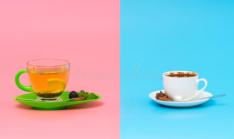 Cups of spicy lemon tea and espresso coffee stock images