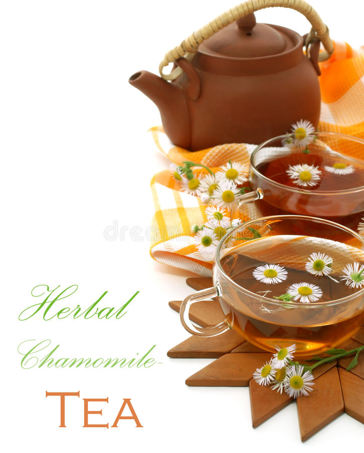Download Cups Of Tea With Chamomile And A The Clay Teapot O Stock Image - Image: 25246903