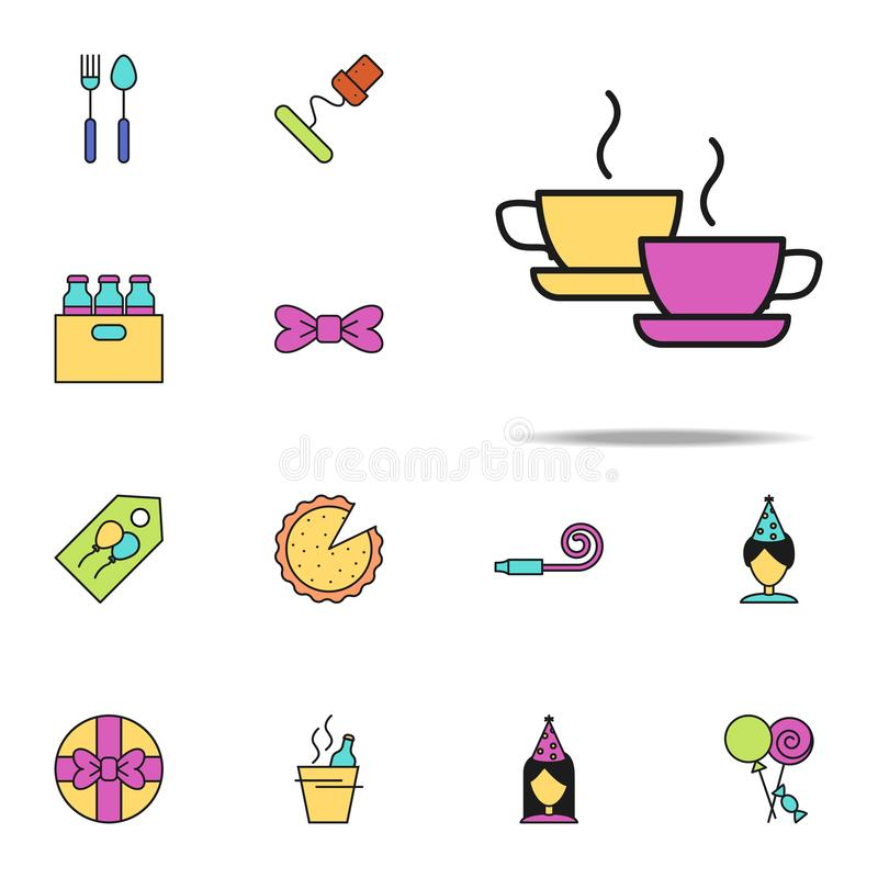 cups of tea colored icon. birthday icons universal set for web and mobile vector illustration