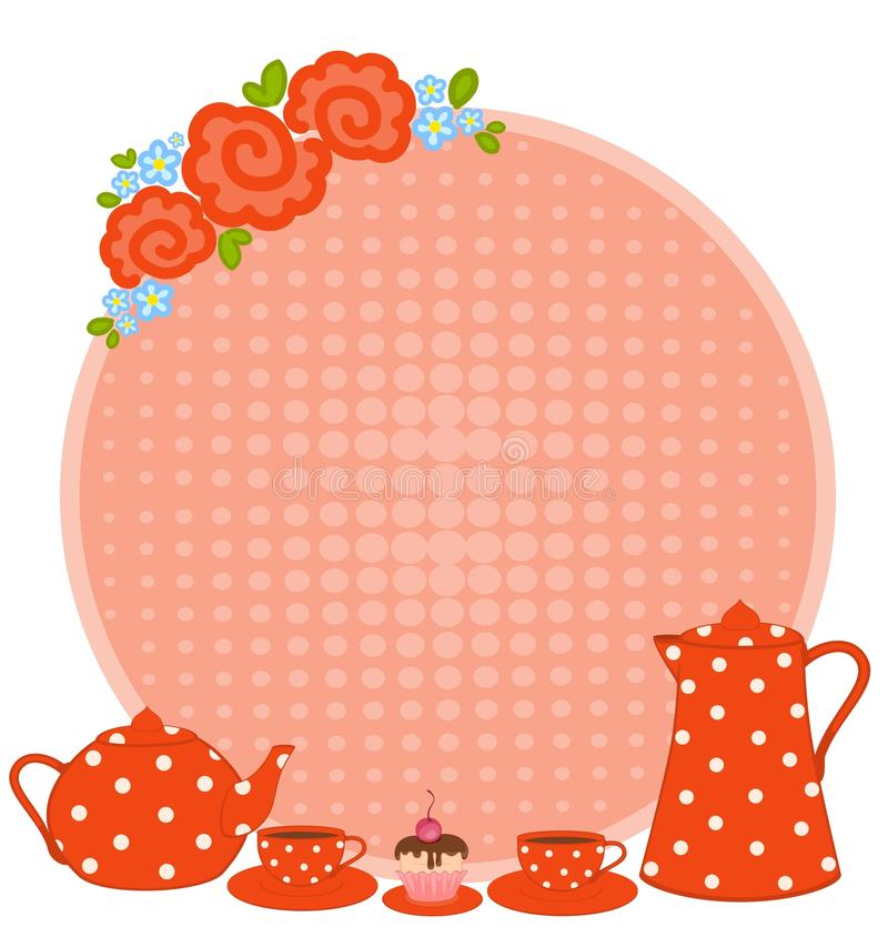 Download Cups and tea-pot stock vector. Illustration of branch - 16429083