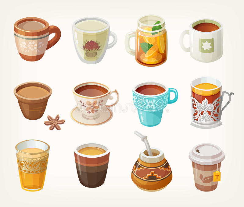 Cups with tea vector illustration