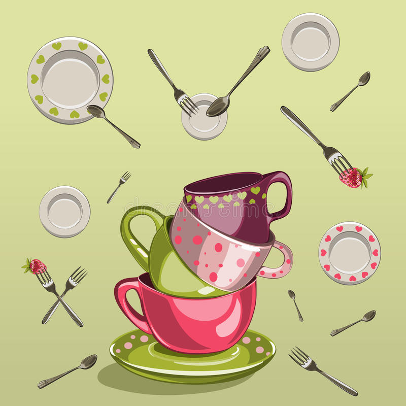 Free Cups With Saucers, Forks And Spoons Stock Photo - 43467860