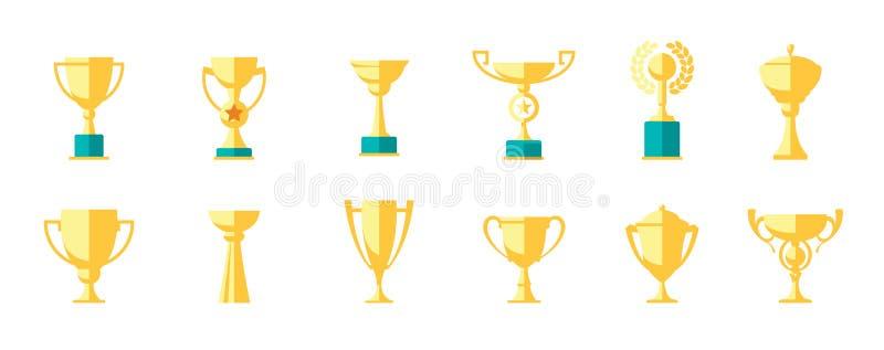 Cupsieger Ikonensatz lokalisiert auf weißem Hintergrund stock abbildung