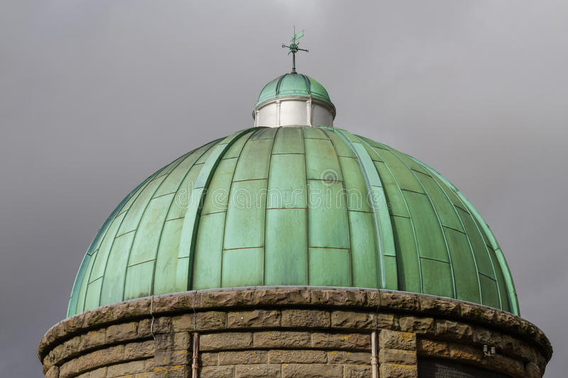 Cupula green dome, copper with Verdigris, gloomy sky stock image