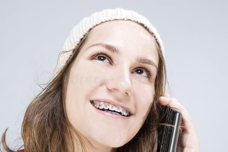 Cura, concetto di ortodonzia ed idee dentari T caucasico biondo fotografia stock libera da diritti