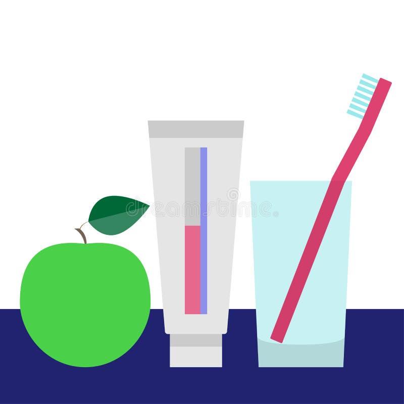 Cura dei denti e concetto dentario Spazzolino da denti in vetro, nel dentifricio ed in mela verde Illustrazione di vettore illustrazione vettoriale
