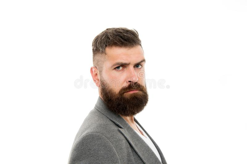 Cura della barba e dei capelli Cura maschio del barbiere Pantaloni a vita bassa maturi con la barba Uomo barbuto Pantaloni a vita immagini stock libere da diritti
