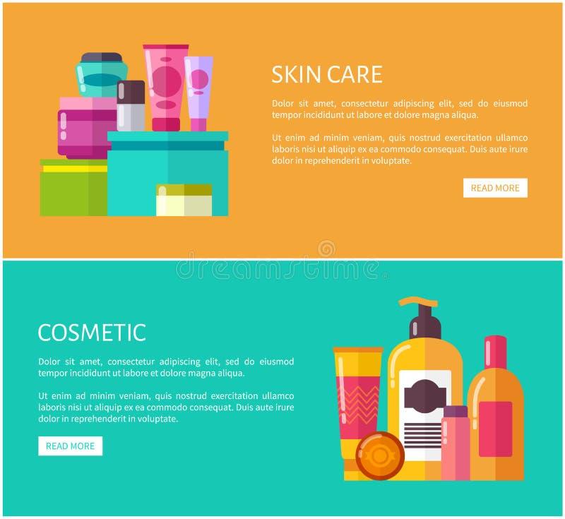 Cura di pelle ed illustrazione stabilita di vettore del cosmetico illustrazione vettoriale