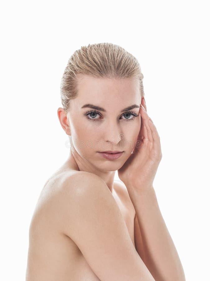 Cura di pelle femminile perfetta fotografia stock libera da diritti